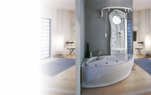 Corner bath with shower over